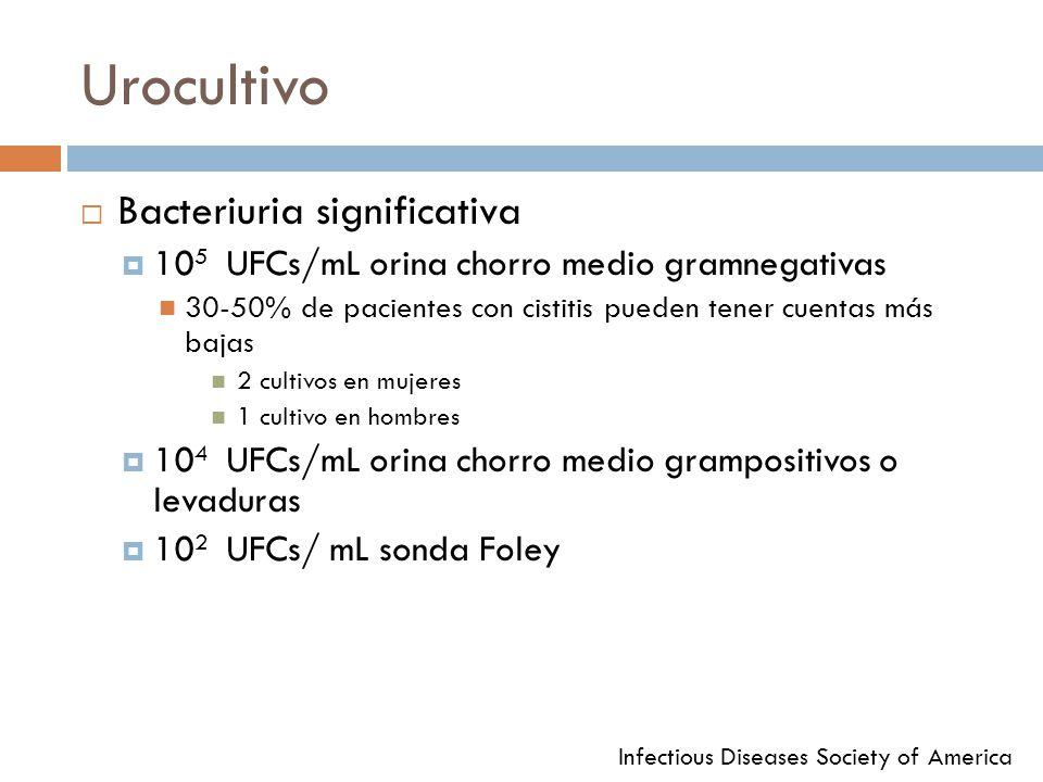 Urocultivo Bacteriuria significativa 10 5 UFCs/mL orina chorro medio gramnegativas 30-50% de pacientes con cistitis pueden tener cuentas más bajas 2 c