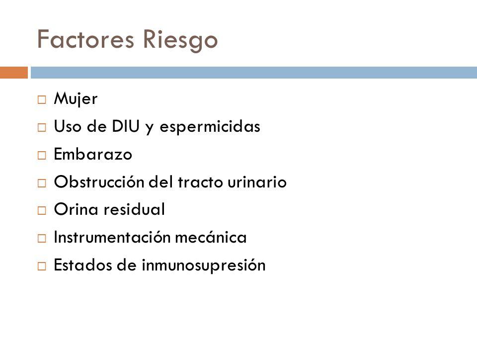 Factores Riesgo Mujer Uso de DIU y espermicidas Embarazo Obstrucción del tracto urinario Orina residual Instrumentación mecánica Estados de inmunosupr