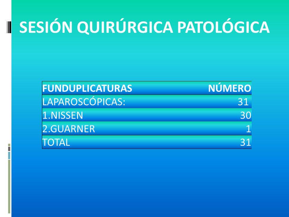 FUNDUPLICATURASNÚMERO LAPAROSCÓPICAS:31 1.NISSEN30 2.GUARNER1 TOTAL31