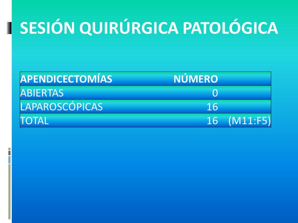 SESIÓN QUIRÚRGICA PATOLÓGICA APENDICECTOMÍASNÚMERO ABIERTAS0 LAPAROSCÓPICAS16 TOTAL16(M11:F5)