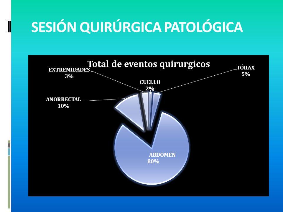 PROCEDIMIENTOS QUIRÚRGICOS REALIZADOS CUELLO3 1.9 TÓRAX8 5.1 ABDOMEN125 80.13 ANORRECTAL15 9.6 EXTREMIDADES5 3.2 TOTAL 156 100.0
