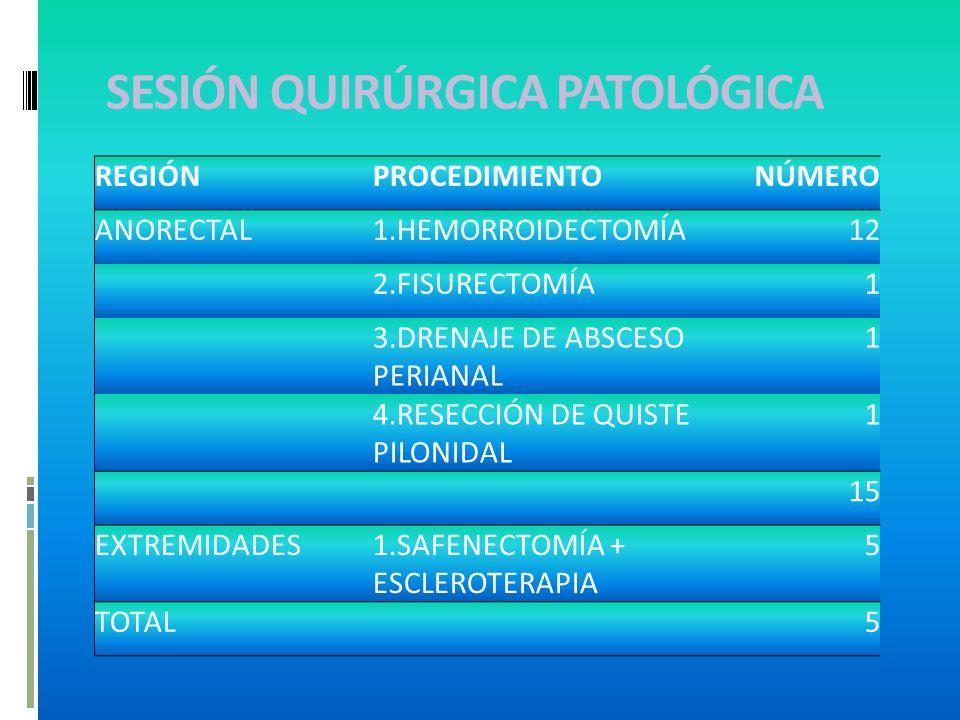 SESIÓN QUIRÚRGICA PATOLÓGICA REGIÓNPROCEDIMIENTONÚMERO ANORECTAL1.HEMORROIDECTOMÍA12 2.FISURECTOMÍA1 3.DRENAJE DE ABSCESO PERIANAL 1 4.RESECCIÓN DE QUISTE PILONIDAL 1 15 EXTREMIDADES1.SAFENECTOMÍA + ESCLEROTERAPIA 5 TOTAL 5