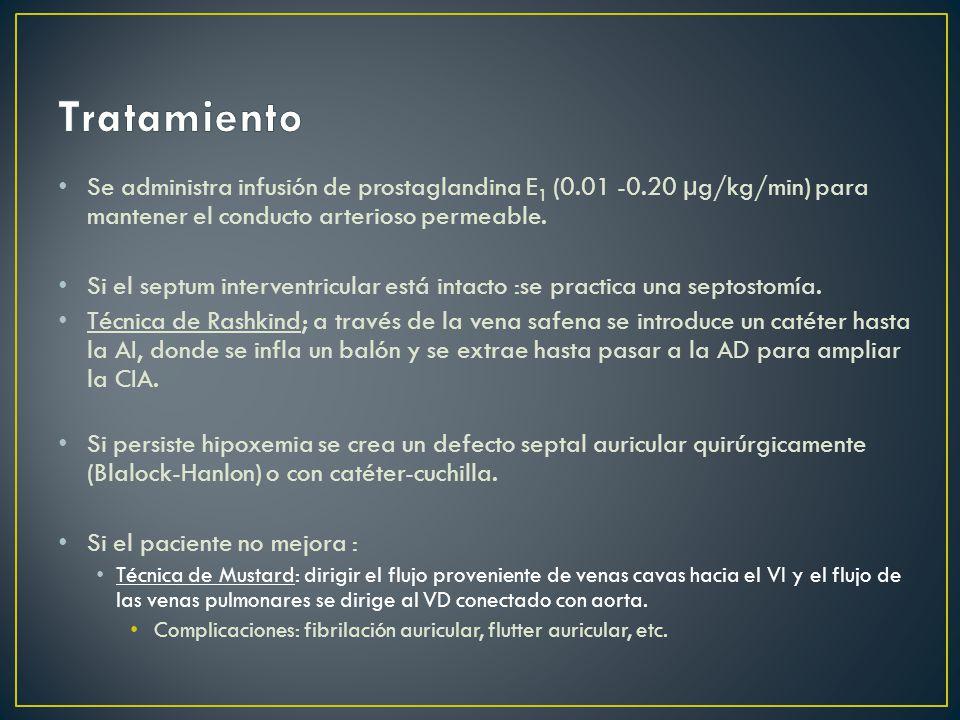 Se administra infusión de prostaglandina E 1 (0.01 -0.20 µg/kg/min) para mantener el conducto arterioso permeable.