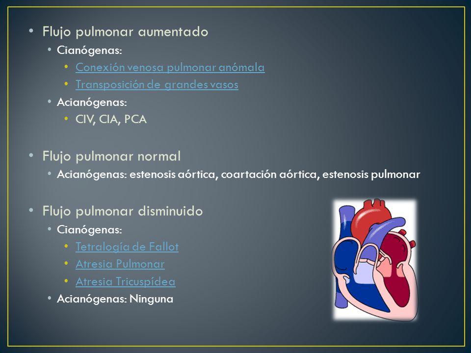 Flujo pulmonar aumentado Cianógenas: Conexión venosa pulmonar anómala Transposición de grandes vasos Acianógenas: CIV, CIA, PCA Flujo pulmonar normal Acianógenas: estenosis aórtica, coartación aórtica, estenosis pulmonar Flujo pulmonar disminuido Cianógenas: Tetralogía de Fallot Atresia Pulmonar Atresia Tricuspídea Acianógenas: Ninguna