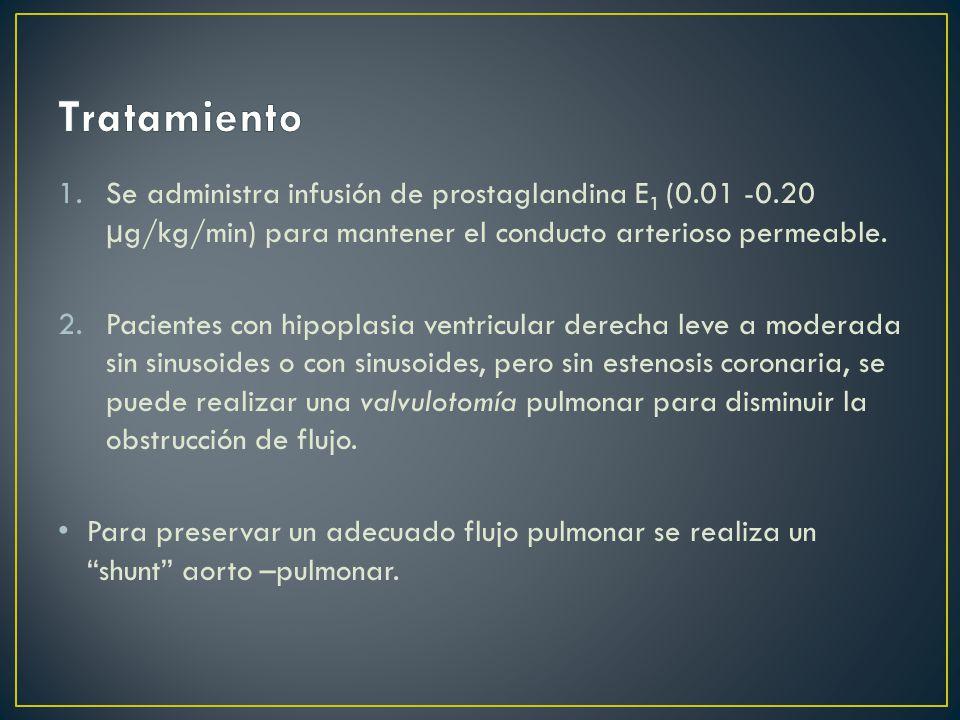 1.Se administra infusión de prostaglandina E 1 (0.01 -0.20 µg/kg/min) para mantener el conducto arterioso permeable.