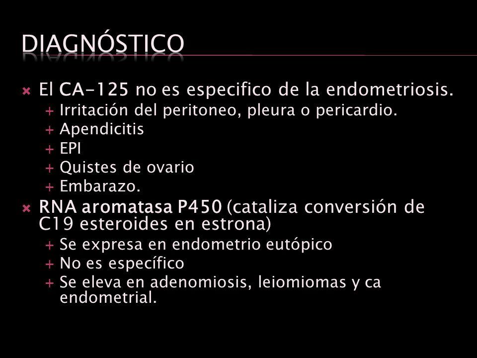 El CA-125 no es especifico de la endometriosis. Irritación del peritoneo, pleura o pericardio. Apendicitis EPI Quistes de ovario Embarazo. RNA aromata