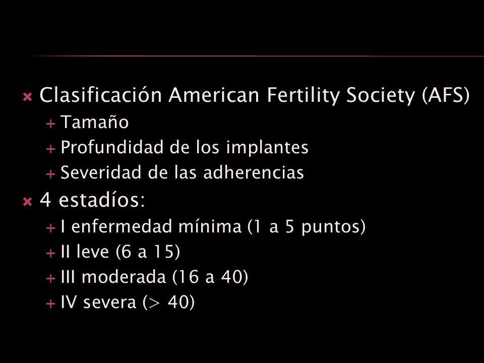 Clasificación American Fertility Society (AFS) Tamaño Profundidad de los implantes Severidad de las adherencias 4 estadíos: I enfermedad mínima (1 a 5