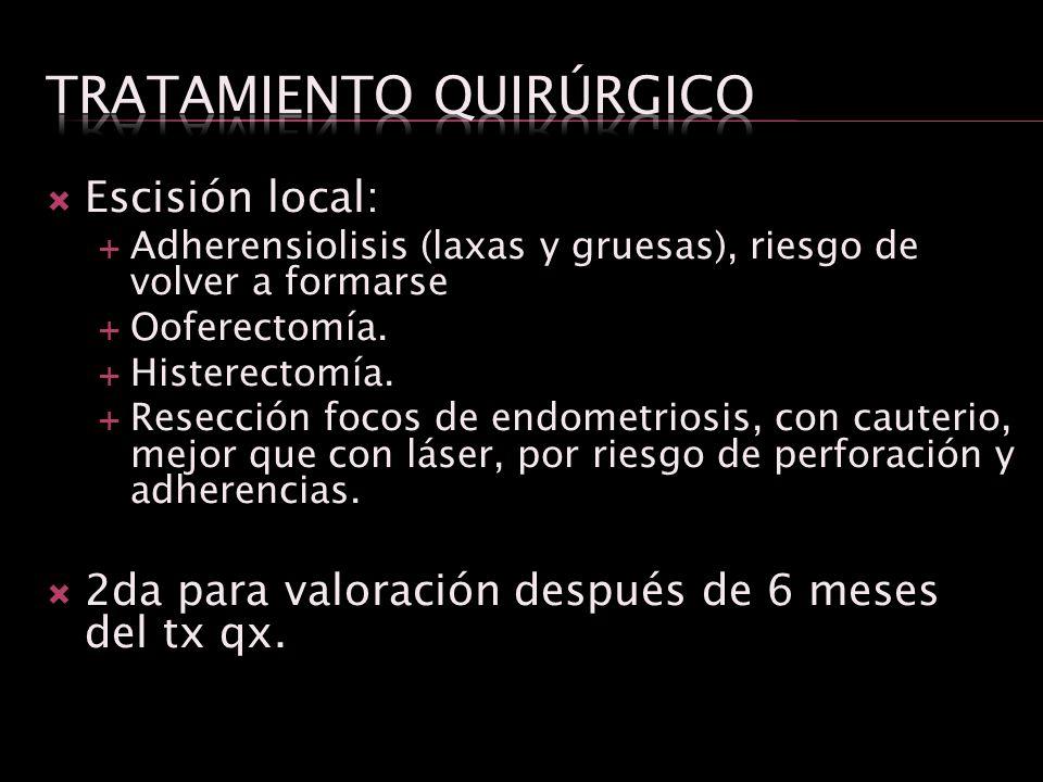 Escisión local: Adherensiolisis (laxas y gruesas), riesgo de volver a formarse Ooferectomía. Histerectomía. Resección focos de endometriosis, con caut
