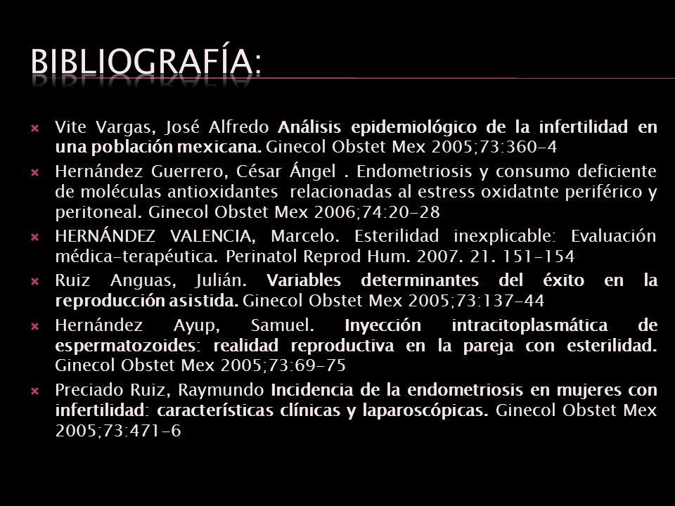 Vite Vargas, José Alfredo Análisis epidemiológico de la infertilidad en una población mexicana. Ginecol Obstet Mex 2005;73:360-4 Hernández Guerrero, C