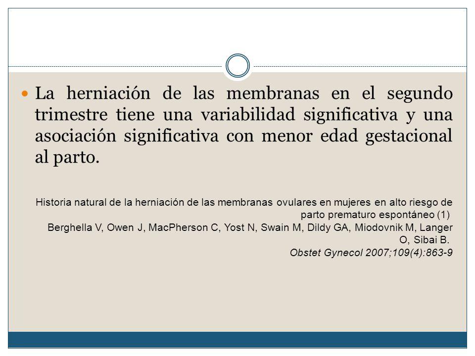 La herniación de las membranas en el segundo trimestre tiene una variabilidad significativa y una asociación significativa con menor edad gestacional al parto.
