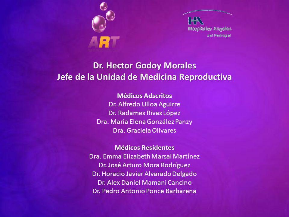 Dr. Hector Godoy Morales Jefe de la Unidad de Medicina Reproductiva Médicos Adscritos Dr. Alfredo Ulloa Aguirre Dr. Radames Rivas López Dra. Maria Ele