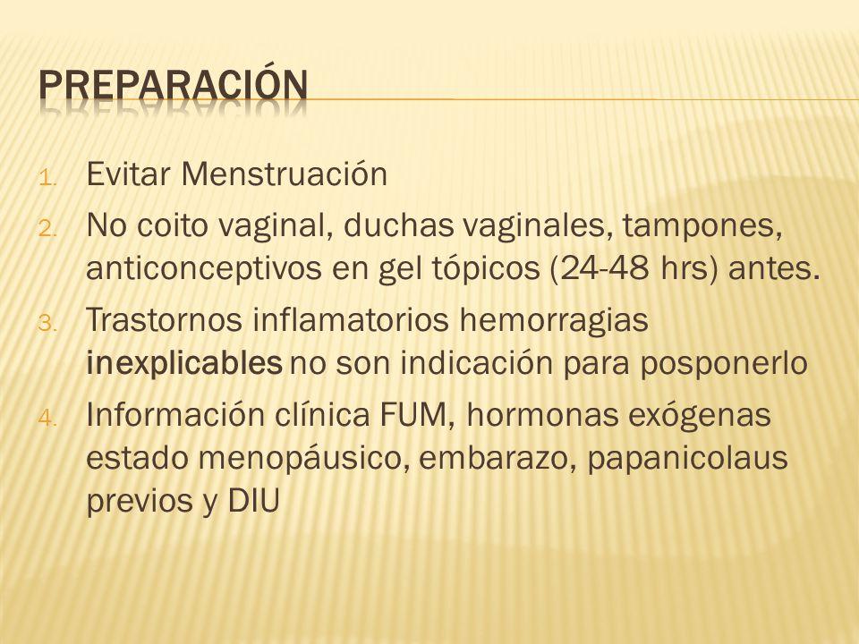 1. Evitar Menstruación 2. No coito vaginal, duchas vaginales, tampones, anticonceptivos en gel tópicos (24-48 hrs) antes. 3. Trastornos inflamatorios