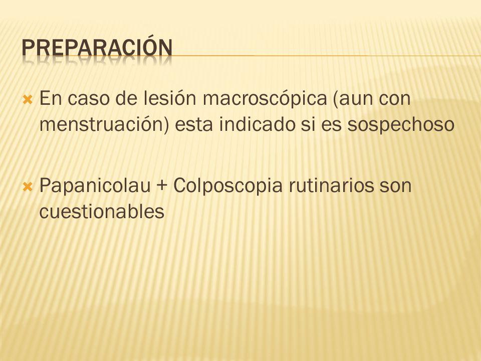 En caso de lesión macroscópica (aun con menstruación) esta indicado si es sospechoso Papanicolau + Colposcopia rutinarios son cuestionables