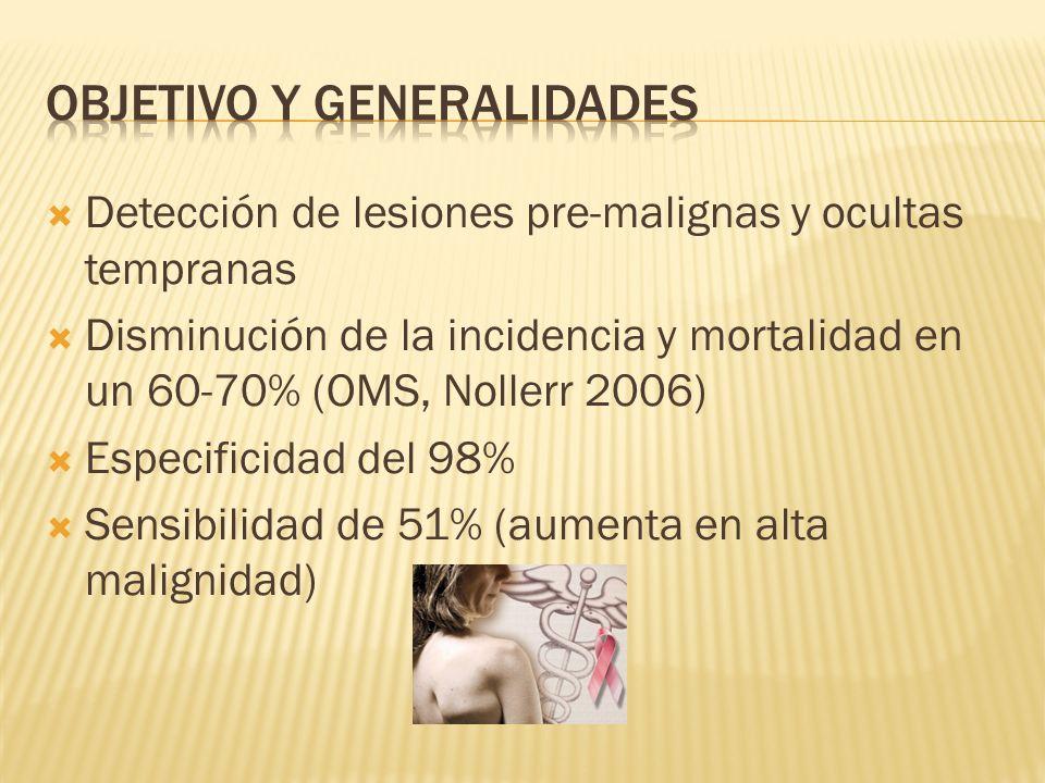 Detección de lesiones pre-malignas y ocultas tempranas Disminución de la incidencia y mortalidad en un 60-70% (OMS, Nollerr 2006) Especificidad del 98