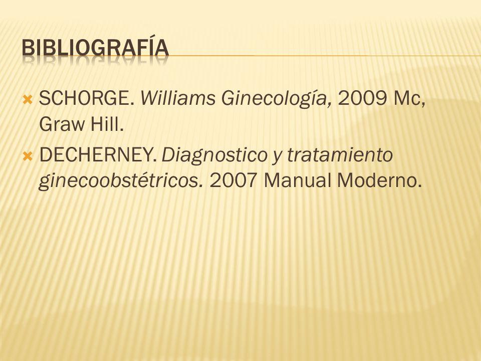 SCHORGE. Williams Ginecología, 2009 Mc, Graw Hill. DECHERNEY. Diagnostico y tratamiento ginecoobstétricos. 2007 Manual Moderno.