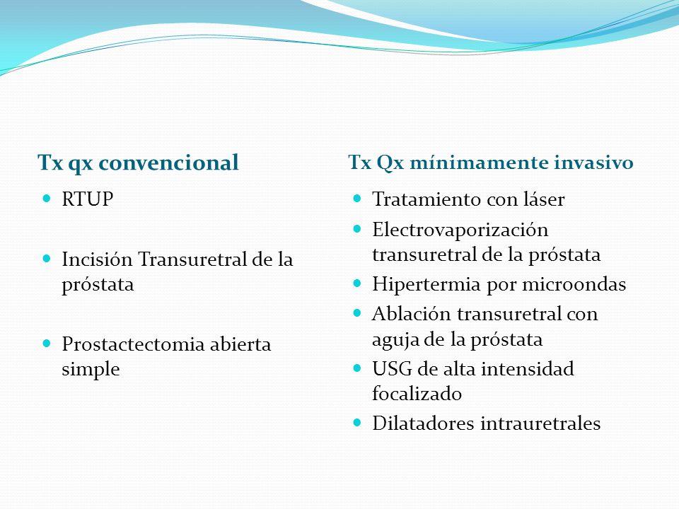 Tx qx convencional Tx Qx mínimamente invasivo RTUP Incisión Transuretral de la próstata Prostactectomia abierta simple Tratamiento con láser Electrova