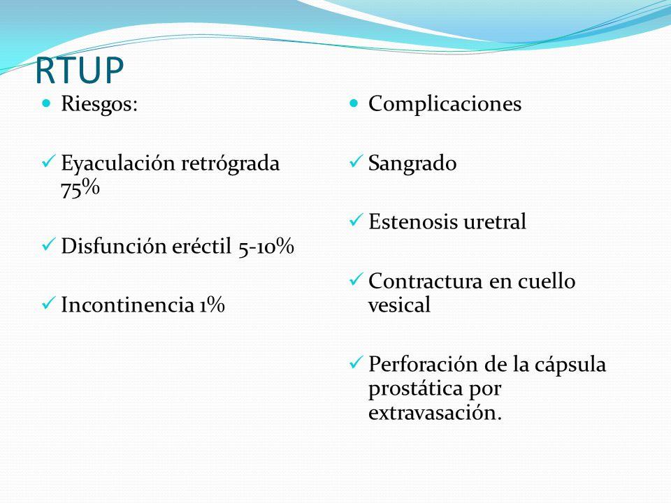 RTUP Riesgos: Eyaculación retrógrada 75% Disfunción eréctil 5-10% Incontinencia 1% Complicaciones Sangrado Estenosis uretral Contractura en cuello ves