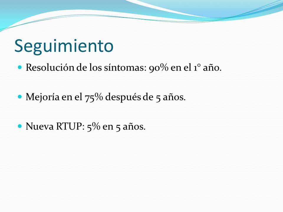 Seguimiento Resolución de los síntomas: 90% en el 1° año. Mejoría en el 75% después de 5 años. Nueva RTUP: 5% en 5 años.