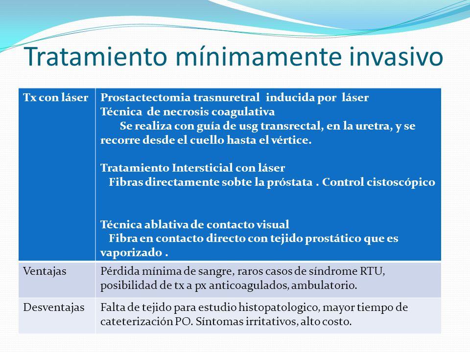 Tratamiento mínimamente invasivo Tx con láserProstactectomia trasnuretral inducida por láser Técnica de necrosis coagulativa Se realiza con guía de us