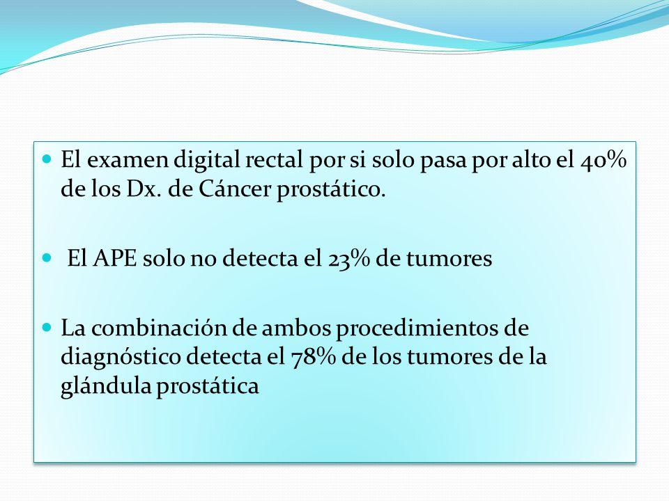 El examen digital rectal por si solo pasa por alto el 40% de los Dx. de Cáncer prostático. El APE solo no detecta el 23% de tumores La combinación de