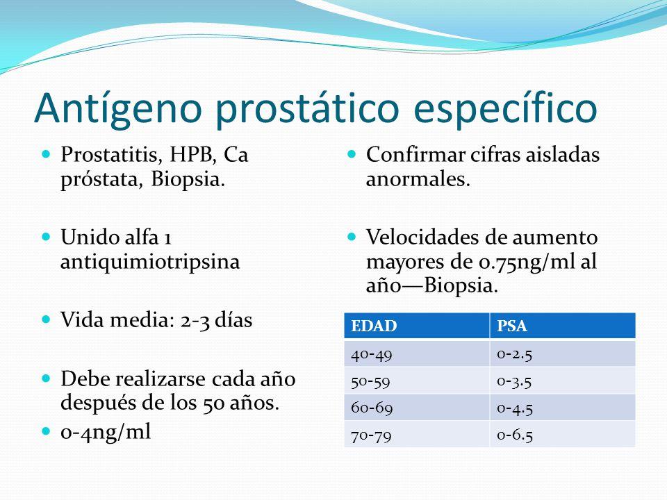 Antígeno prostático específico Prostatitis, HPB, Ca próstata, Biopsia. Unido alfa 1 antiquimiotripsina Vida media: 2-3 días Debe realizarse cada año d