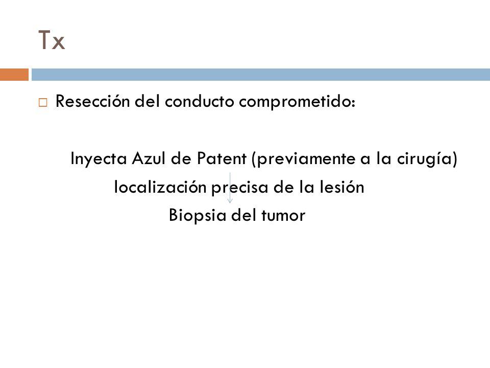 Tx Resección del conducto comprometido: Inyecta Azul de Patent (previamente a la cirugía) localización precisa de la lesión Biopsia del tumor