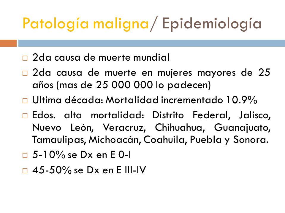Patología maligna/ Epidemiología 2da causa de muerte mundial 2da causa de muerte en mujeres mayores de 25 años (mas de 25 000 000 lo padecen) Ultima d