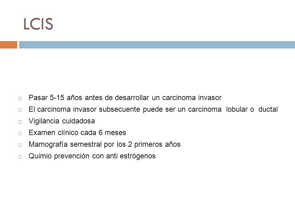 LCIS Se considera como una lesión pre cancerosa Neoplasia lobular 3-5% de carcinomas de mama Se considera como marcador de riesgo de padecer un carcinoma invasor 25% evoluciona a carcinoma invasor Incidencia (40-46 años) Se asocia con frecuencia a mastopatia fibroquistica Pasar 5-15 años antes de desarrollar un carcinoma invasor El carcinoma invasor subsecuente puede ser un carcinoma lobular o ductal Vigilancia cuidadosa Examen clínico cada 6 meses Mamografía semestral por los 2 primeros años Quimio prevención con anti estrógenos