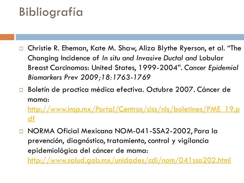 Bibliografía Novey Donald W. Guía de Exploración Clínica, Interamericana, Mc Graw Hill Programa de acción: Cáncer de mama 2001-2006: http://www.salud.