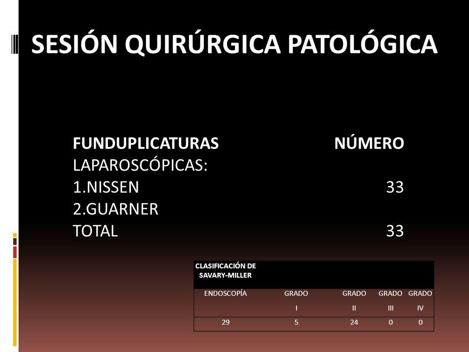 FUNDUPLICATURASNÚMERO LAPAROSCÓPICAS: 1.NISSEN33 2.GUARNER TOTAL33 CLASIFICACIÓN DE SAVARY-MILLER ENDOSCOPÍAGRADO IIIIIIIV 2952400