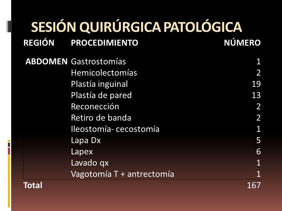 SESIÓN QUIRÚRGICA PATOLÓGICA REGIÓNPROCEDIMIENTONÚMERO ABDOMENGastrostomías1 Hemicolectomías2 Plastía inguinal19 Plastía de pared13 Reconección2 Retiro de banda2 Ileostomía- cecostomía1 Lapa Dx5 Lapex6 Lavado qx1 Vagotomía T + antrectomía1 Total167