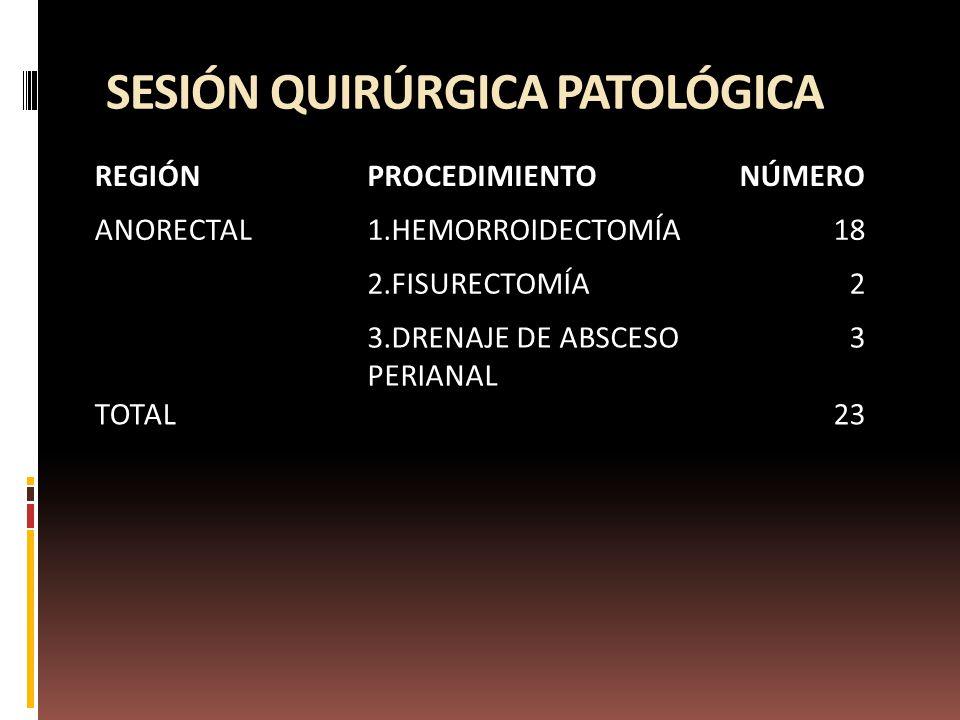 SESIÓN QUIRÚRGICA PATOLÓGICA REGIÓNPROCEDIMIENTONÚMERO ANORECTAL1.HEMORROIDECTOMÍA18 2.FISURECTOMÍA2 3.DRENAJE DE ABSCESO PERIANAL 3 TOTAL 23