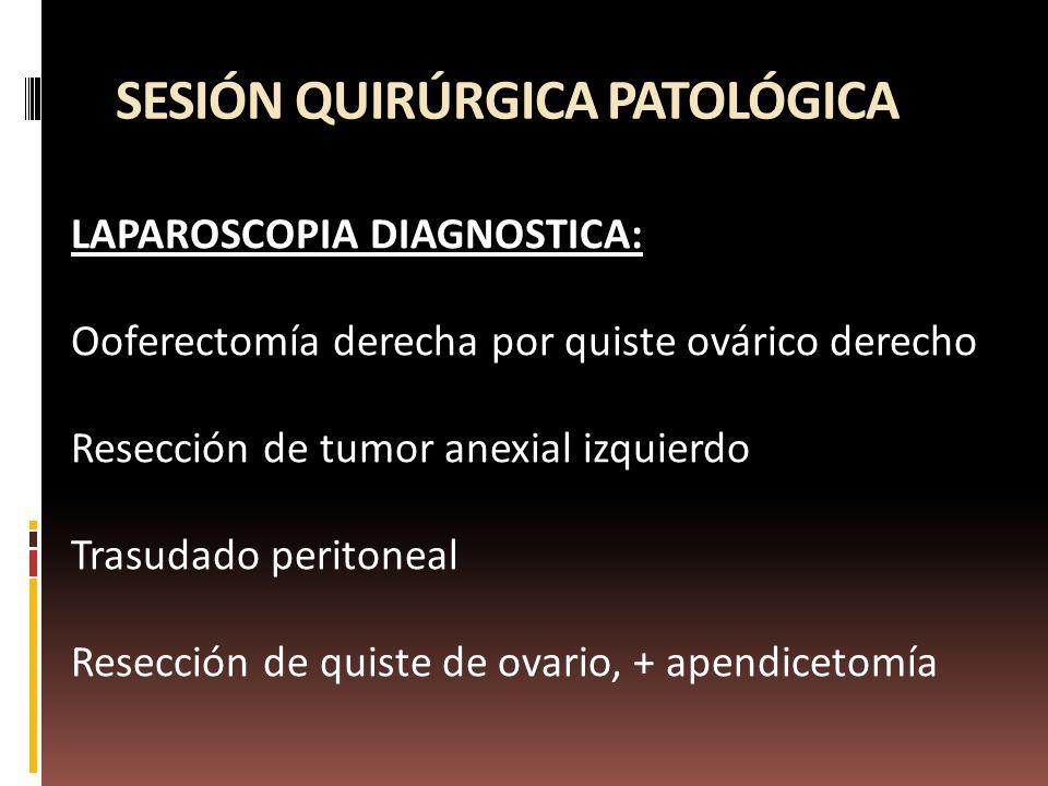 SESIÓN QUIRÚRGICA PATOLÓGICA LAPAROSCOPIA DIAGNOSTICA: Ooferectomía derecha por quiste ovárico derecho Resección de tumor anexial izquierdo Trasudado peritoneal Resección de quiste de ovario, + apendicetomía