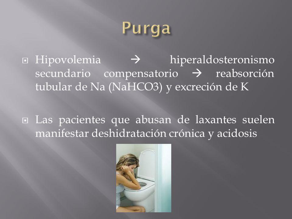 Hipovolemia hiperaldosteronismo secundario compensatorio reabsorción tubular de Na (NaHCO3) y excreción de K Las pacientes que abusan de laxantes suel