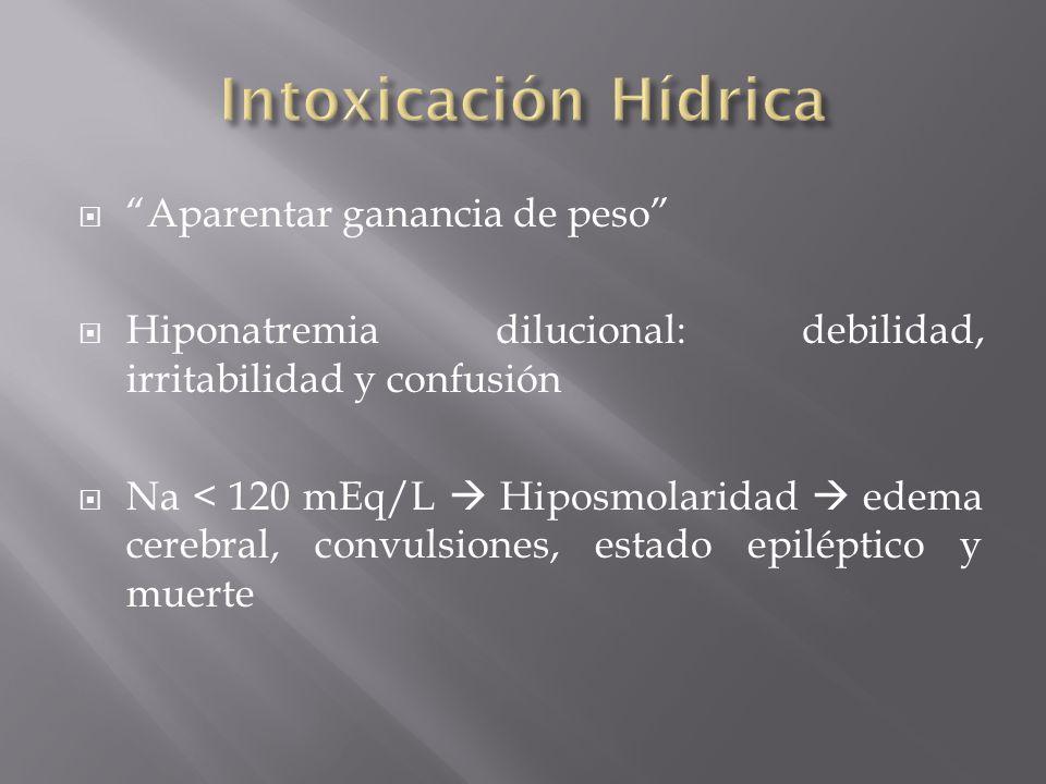 Aparentar ganancia de peso Hiponatremia dilucional: debilidad, irritabilidad y confusión Na < 120 mEq/L Hiposmolaridad edema cerebral, convulsiones, e