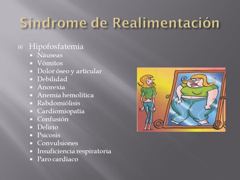 Hipofosfatemia Náuseas Vómitos Dolor óseo y articular Debilidad Anorexia Anemia hemolítica Rabdomiólisis Cardiomiopatía Confusión Delirio Psicosis Con