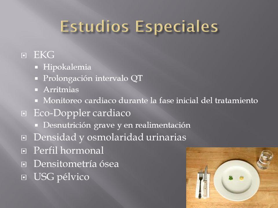 EKG Hipokalemia Prolongación intervalo QT Arritmias Monitoreo cardiaco durante la fase inicial del tratamiento Eco-Doppler cardiaco Desnutrición grave