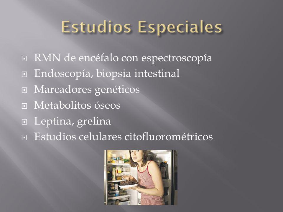 RMN de encéfalo con espectroscopía Endoscopía, biopsia intestinal Marcadores genéticos Metabolitos óseos Leptina, grelina Estudios celulares citofluor