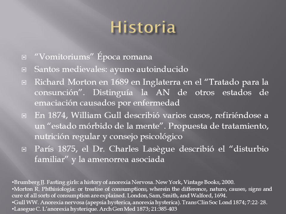 Vomitoriums Época romana Santos medievales: ayuno autoinducido Richard Morton en 1689 en Inglaterra en el Tratado para la consunción. Distinguía la AN