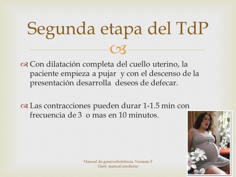Con dilatación completa del cuello uterino, la paciente empieza a pujar y con el descenso de la presentación desarrolla deseos de defecar.