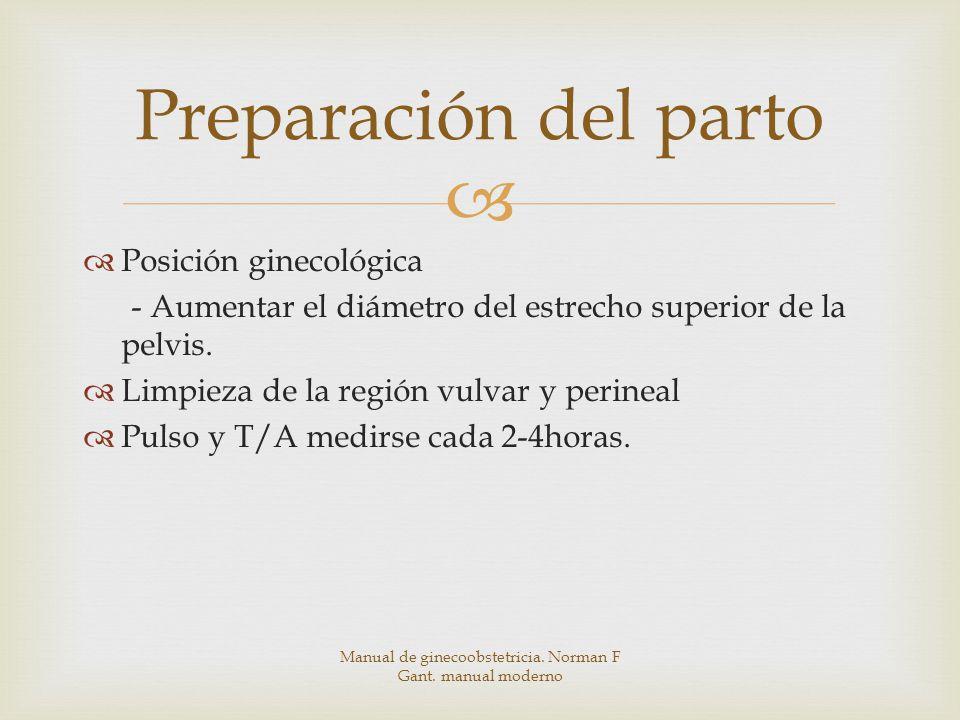 Preparación del parto Posición ginecológica - Aumentar el diámetro del estrecho superior de la pelvis.