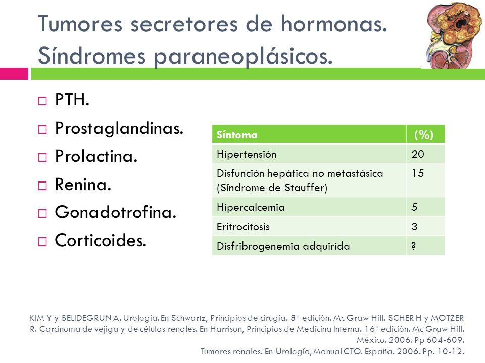 Tumores secretores de hormonas. Síndromes paraneoplásicos. PTH. Prostaglandinas. Prolactina. Renina. Gonadotrofina. Corticoides. KIM Y y BELIDEGRUN A.