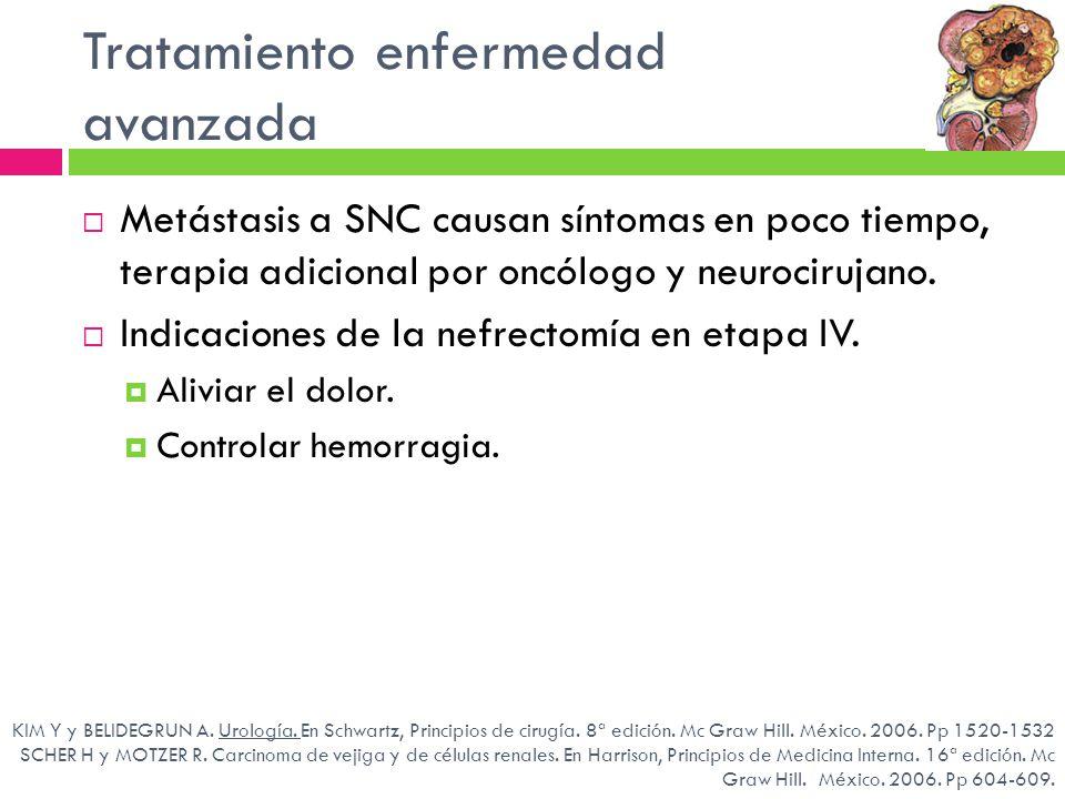 Tratamiento enfermedad avanzada KIM Y y BELIDEGRUN A. Urología. En Schwartz, Principios de cirugía. 8ª edición. Mc Graw Hill. México. 2006. Pp 1520-15