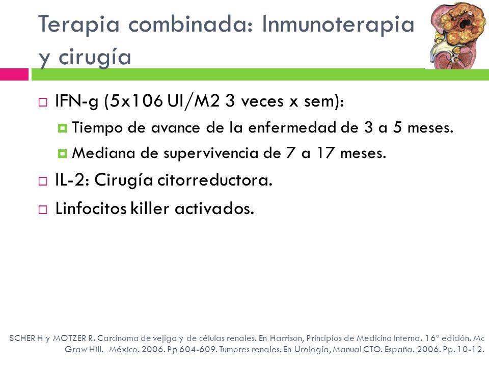 Terapia combinada: Inmunoterapia y cirugía IFN-g (5x10 6 UI/M2 3 veces x sem): Tiempo de avance de la enfermedad de 3 a 5 meses. Mediana de superviven