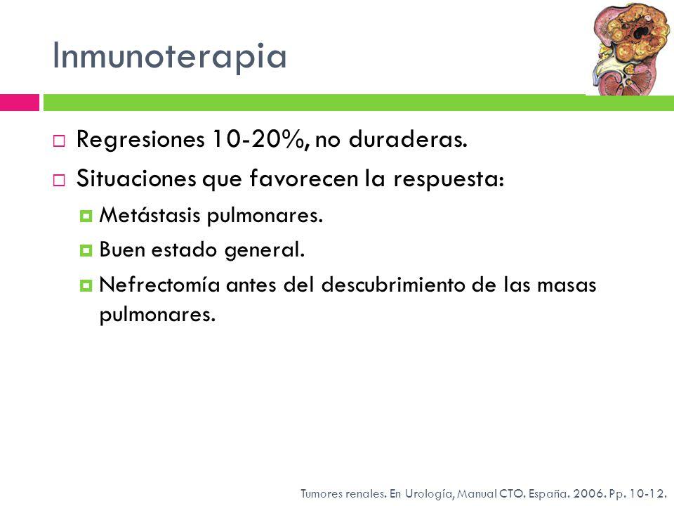 Inmunoterapia Regresiones 10-20%, no duraderas. Situaciones que favorecen la respuesta: Metástasis pulmonares. Buen estado general. Nefrectomía antes