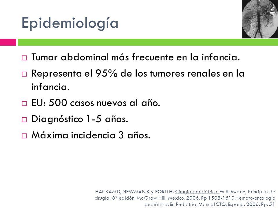 Epidemiología Tumor abdominal más frecuente en la infancia. Representa el 95% de los tumores renales en la infancia. EU: 500 casos nuevos al año. Diag