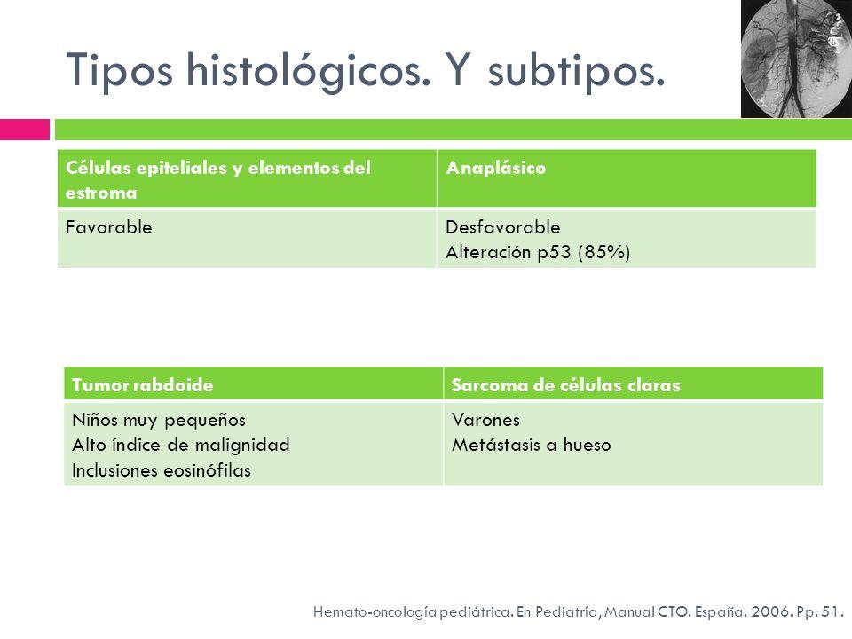 Tipos histológicos. Y subtipos. Células epiteliales y elementos del estroma Anaplásico FavorableDesfavorable Alteración p53 (85%) Tumor rabdoideSarcom
