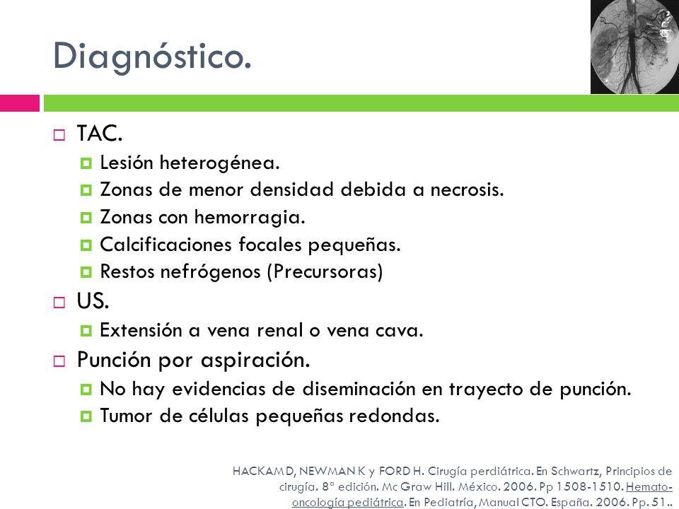 Diagnóstico. TAC. Lesión heterogénea. Zonas de menor densidad debida a necrosis. Zonas con hemorragia. Calcificaciones focales pequeñas. Restos nefróg