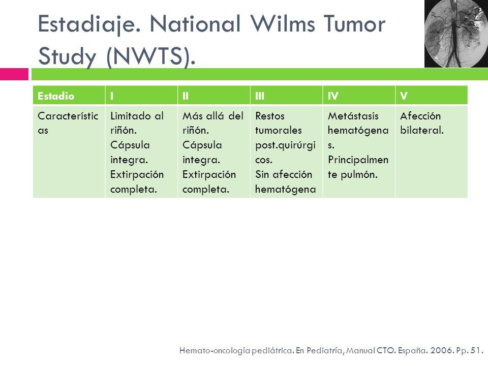 Estadiaje. National Wilms Tumor Study (NWTS). EstadioIIIIIIIVV Característic as Limitado al riñón. Cápsula integra. Extirpación completa. Más allá del