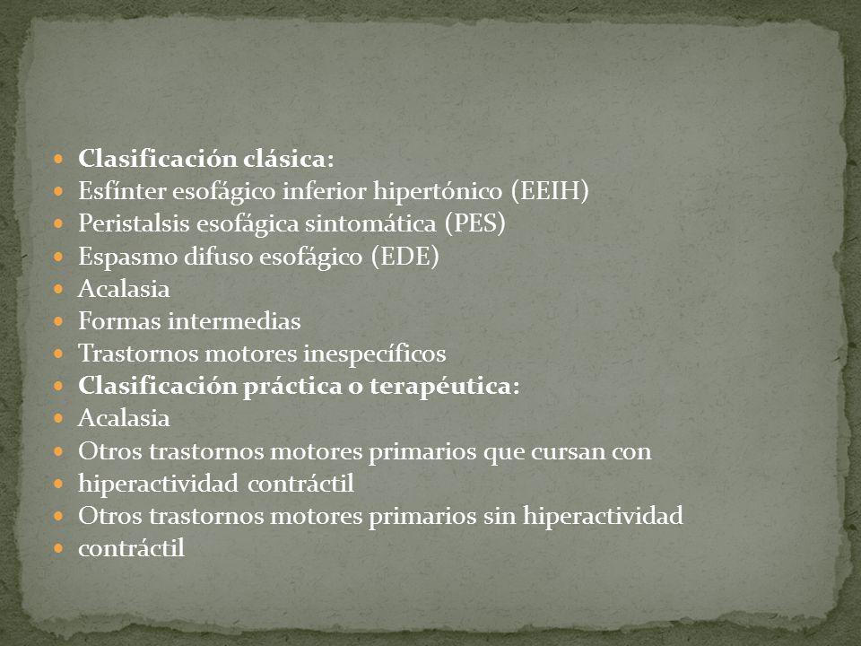Clasificación clásica: Esfínter esofágico inferior hipertónico (EEIH) Peristalsis esofágica sintomática (PES) Espasmo difuso esofágico (EDE) Acalasia